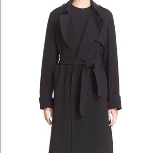 THEORY Black Belted Crepe Staple Overcoat, Medium